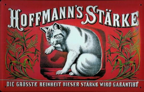 Blechschild Hoffmann Stärke Katze rot quer Schild retro Werbeschild Nostalgieschild
