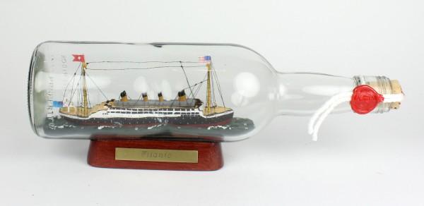Titanic Untergang 700 ml runde Flasche Buddelschiff Museumsqualität