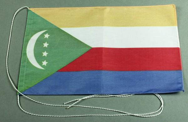 Tischflagge Komoren 25x15 cm optional mit Holz- oder Chromständer Tischfahne Tischfähnchen