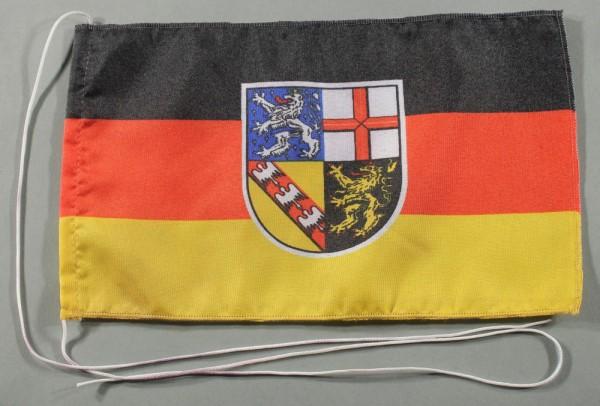Tischflagge Saarland 25x15 cm optional mit Holz- oder Chromständer Tischfahne Tischfähnchen