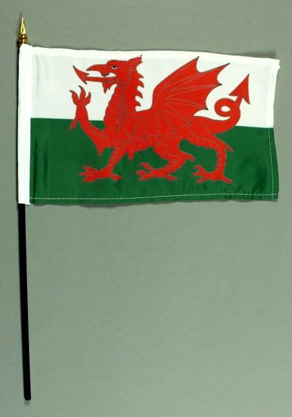 Tischflagge Wales 15x25 cm BASIC optional mit Tischflaggenständer