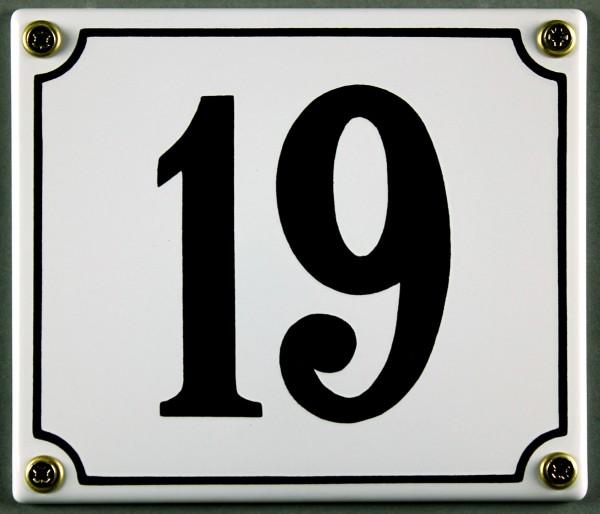 Hausnummernschild 19 weiß 12x14 cm sofort lieferbar Schild Emaille Hausnummer Haus Nummer Zahl Ziffe