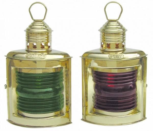 Schiffslampe Messing Positionslampe Set 2 Stück rot und grün 36 cm Höhe schwere Ausführung Petroleum