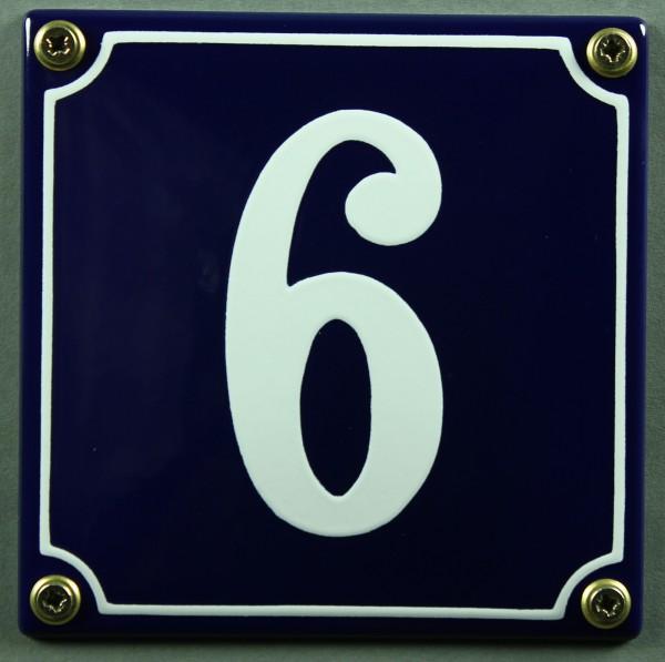Hausnummernschild 6 blau - weiß 12x12 cm sofort lieferbar Schild Emaille Hausnummer Haus Nummer Zahl