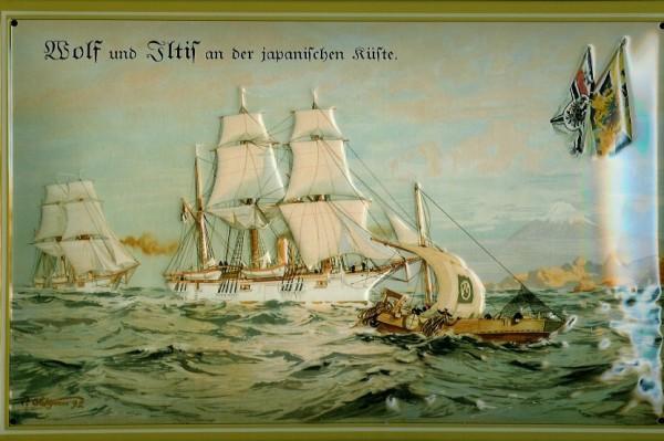 Blechschild Wolf Iltis Segelschiff vor Japan Dampfer Reedereiplakat Schiff Schild Nostalgieschild