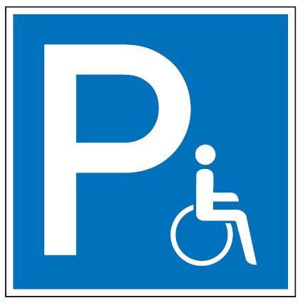 Aluminium Schild Parkplatz P Rollstuhlfahrer 250x250 mm geprägt