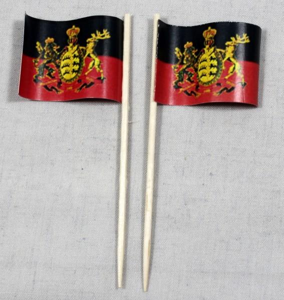 Party-Picker Flagge Württemberg Papierfähnchen in Spitzenqualität 50 Stück Beutel