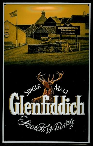 Blechschild Glenfiddich Hochformat Hirsch Scotch Whisky Schild Werbeschild