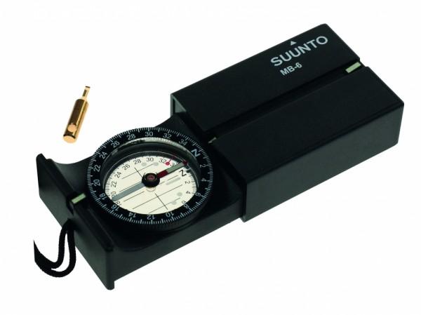 SUUNTO MB-6NH Kompass, 360 Grad Einteilung, Direktpeilung, abklappbarer Spiegel, Dämmerungsmarken, T
