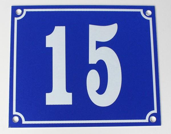 Hausnummernschild Aluminium Aluschild 1 mm Stärke Alu Schild Nr. 15 blau