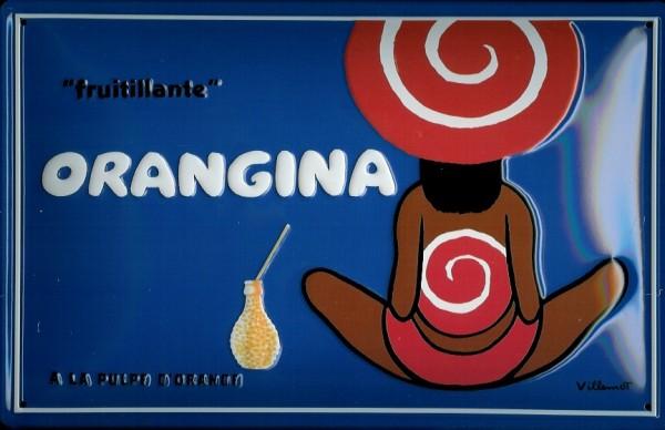 Blechschild Orangina Orangensaft Fruitilante retro Werbeschild vintage Schild sign