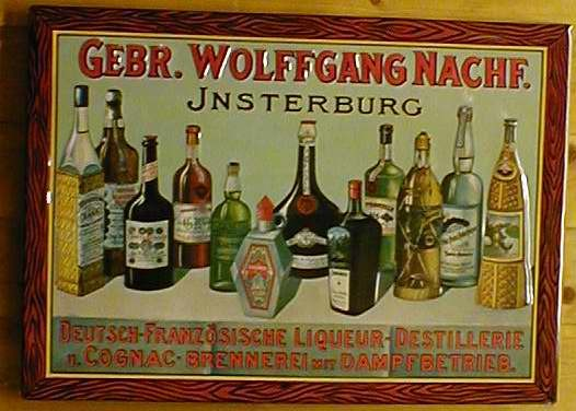 Blechschild Gebr. Wolfgang Insterburg Cognac Schild retro Werbeschild