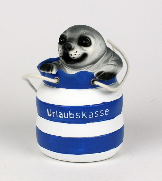 Seehund im Seesack Urlaubskasse Spardose Spartopf Deko blau/weiß 12 cm