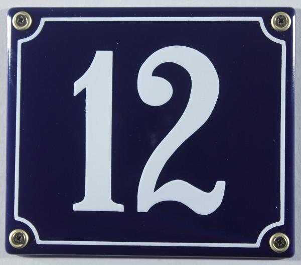 Hausnummernschild Emaille 12 blau - weiß 12x14 cm sofort lieferbar Schild Emaile Hausnummer Haus Num