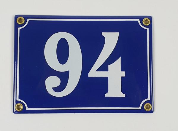 94 blau / weiß Clarendon 17x12 cm sofort lieferbar Schild Emaille Hausnummer