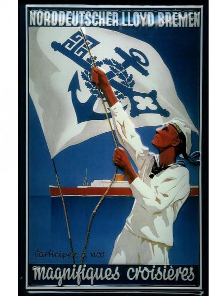 Blechschild Norddeutscher Lloyd Bremen Seemann Flagge blau Dampfer Reedereiplakat Schiff Schild Nost