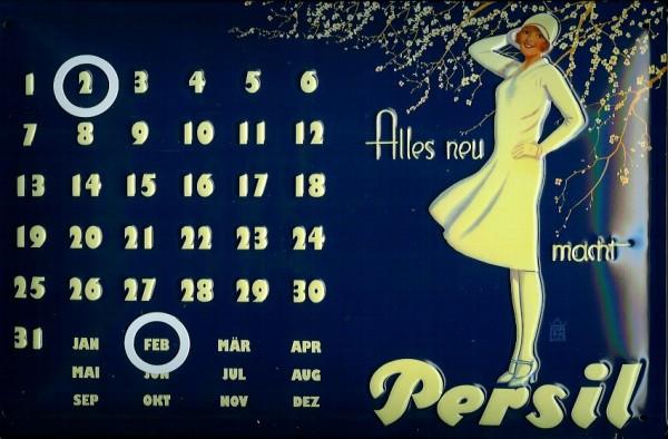 Blechschild Persil alle neu Magnet Kalender Waschpulver Schild retro Dauerkalender Werbeschild Nost