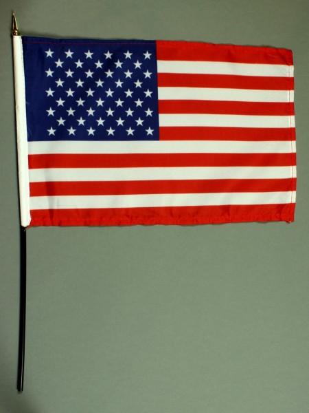 Tischflagge USA 20x30 cm optional mit Tischflaggenständer aus Mahagoni Holz