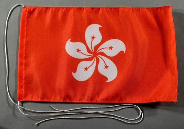 Tischflagge Hong Kong Hongkong 25x15 cm optional mit Holz- oder Chromständer Tischfahne Tischfähnche