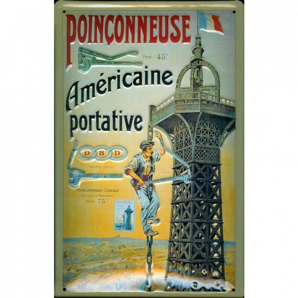 Blechschild Poinconneuse Stanzmaschine Frankreich Schild Nostalgieschild