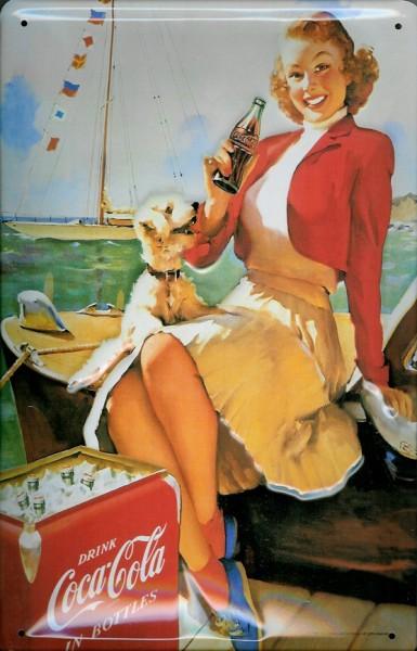 Blechschild Coca Cola Coke Boot Mädchen mit Hund Schild retro Werbeschild