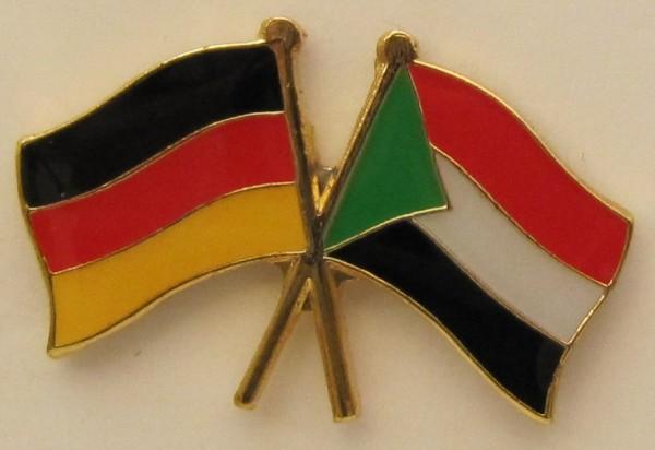 Sudan / Deutschland Freundschafts Pin Anstecker Flagge Fahne Nationalflagge