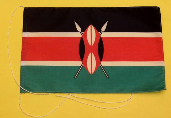 Tischflagge Kenia 25x15 cm optional mit Holz- oder Chromständer Tischfahne Tischfähnchen