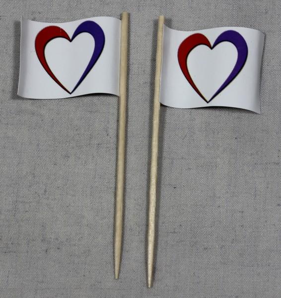 Party-Picker Flagge Herz blanko leer Papierfähnchen in Spitzenqualität 50 Stück Beutel