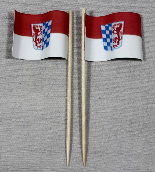 Party-Picker Flagge Niederbayern Papierfähnchen in Spitzenqualität 50 Stück Beutel