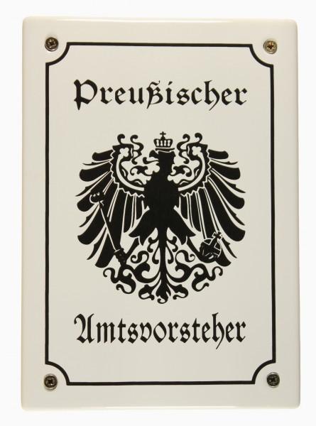 Hinweis Schild Preußischer Amtsvorsteher Preussen Emaille Türschild