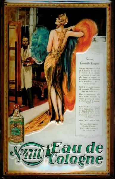 Blechschild 4711 Maler mit Aktmodell Kunstmaler Kosmetik kölnisch Wasser Parfum Schild Werbeschild N