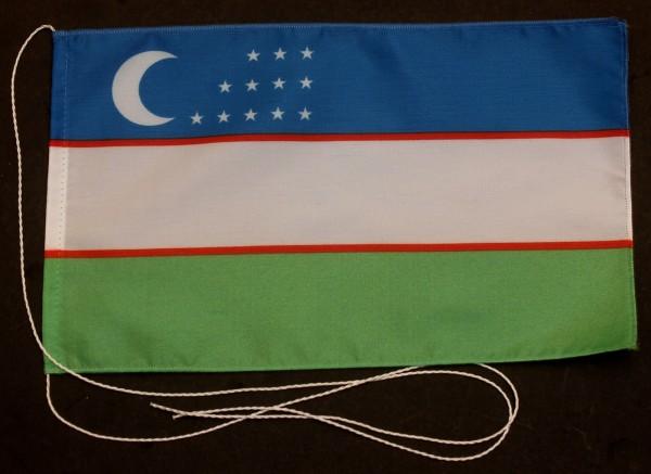 Tischflagge Usbekistan 25x15 cm optional mit Holz- oder Chromständer Tischfahne Tischfähnchen