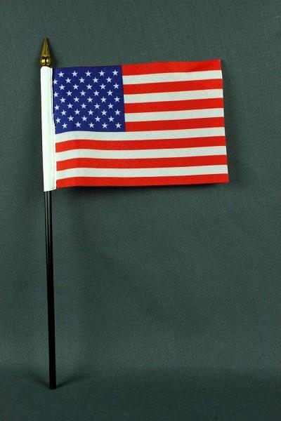 Kleine Tischflagge USA 10x15 cm optional mit Tischfähnchenständer