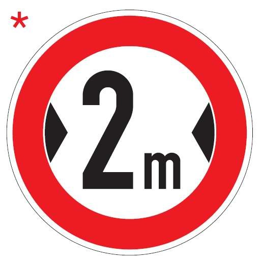 Verkehrsschild / Verkehrszeichen Verbot für Fahrzeuge über angegebene Breite einschließlich Ladung 4