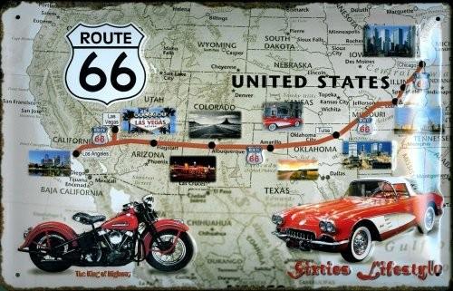Blechschild Sixties Lifestyle USA Landkarte Auto Motorrad Schild Werbeschild retro Nostalgieschild