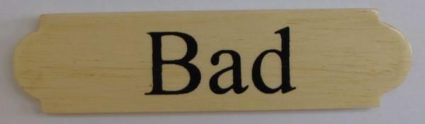 Eckiges Holz - Türschild Bad 3x12 cm helles Holzschild