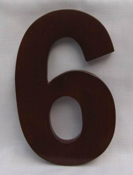"Hausnummer Ziffer ""6"" aus lackiertem Natur - Holz, ca. 16 cm"