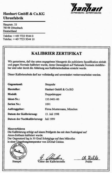 Hanhart Kalibrierzertifikat