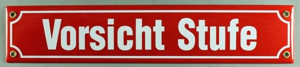 Strassenschild Vorsicht Stufe 40x8 cm rot Emaille Schild Emaile Hinweisschild Türschild