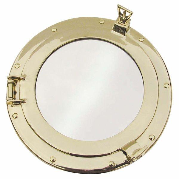 Bullaugen Spiegel 200 mm Massiv Messing Bullauge