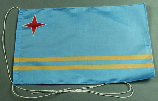 Tischflagge Aruba 25x15 cm optional mit Holz- oder Chromständer Tischfahne Tischfähnchen