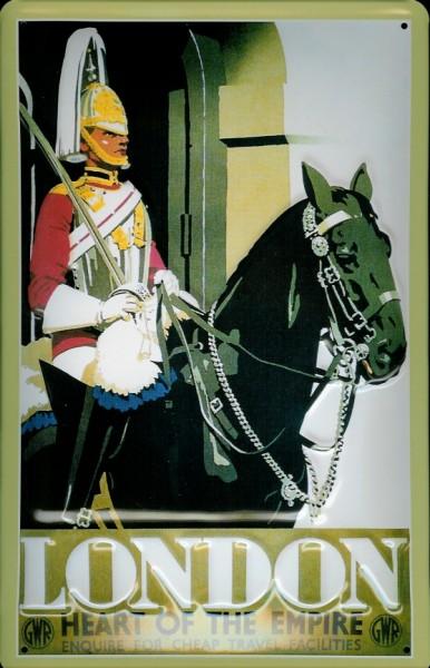 Blechschild Nostalgieschild London Heart of the Empire Pferd