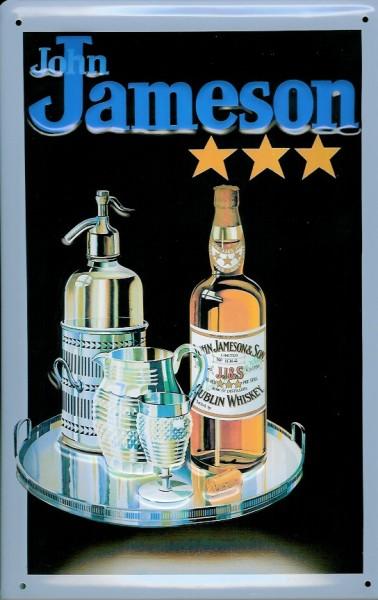 Blechschild John Jameson Whiskey Flasche Glas Tablett (1) Schild retro Kneipenschild