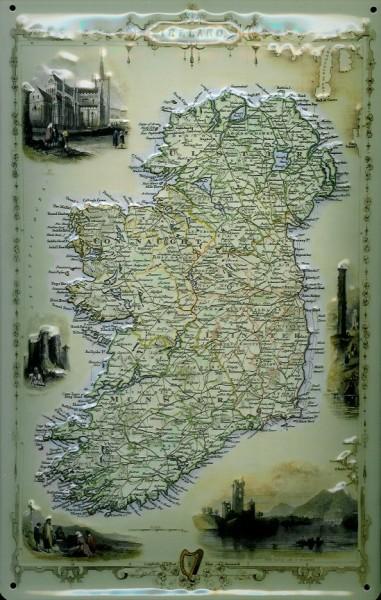Blechschild Nostalgieschild Ireland Landkarte Irland