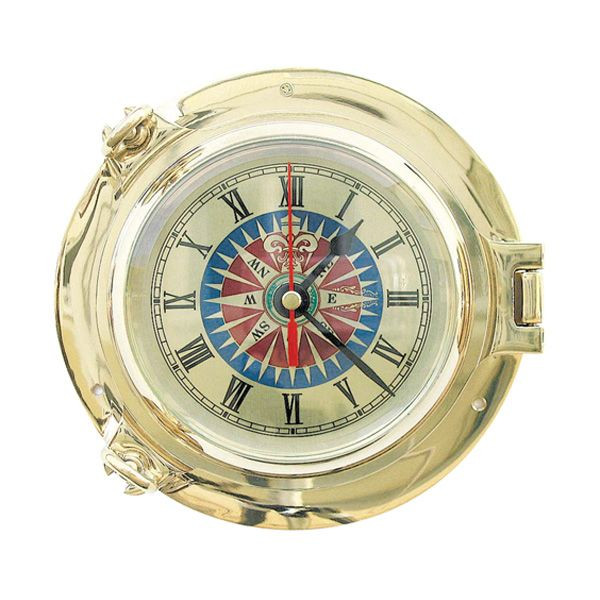 Schiffsuhr Quartz Bullaugen-Uhr mit Windrosenziffernblatt 14cm Messing
