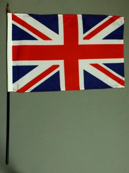 Tischflagge Großbritannien 20x30 cm optional mit Tischflaggenständer aus Mahagoni Holz