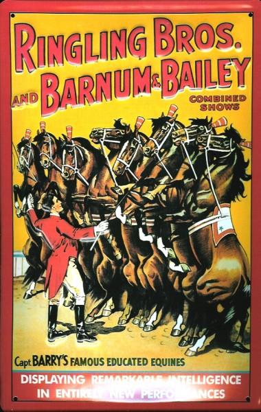 Blechschild Nostalgieschild Ringling Brothers Zirkus Pferde
