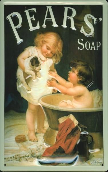 Blechschild Pears Soap Kinder Badewanne Seife Schild retro Werbeschild Nostalgieschild
