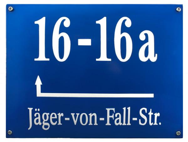 Münchner Hausnummernschild groß mit Wunschzahl / Text 40x30 cm Emaille Hausnummer