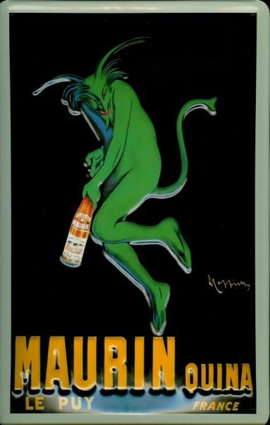 Blechschild Maurin Quina Le Puy France grüner Teufel retro Schild Werbeschild